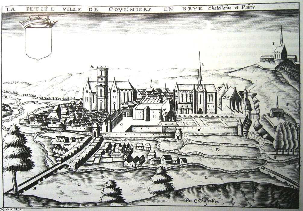 grabado antiguo Of el ciudad Of Coulommiers de Claude Chastillon (1559-1616, France)