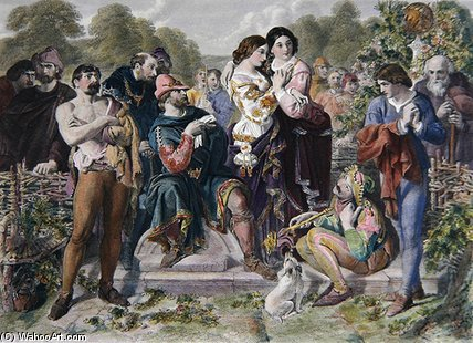 Orlando And The Wrestler de Daniel Maclise (1806-1870, Ireland)