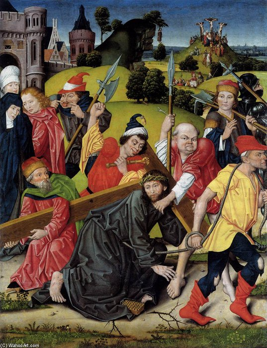 el `bearing` de cruz de Derick Baegert (1440-1515, Germany)
