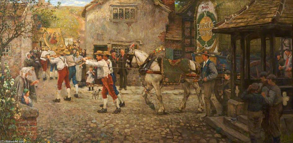 Rushbearing En Middleton, Rochdale, Lancashire de Frederick William Jackson (1859-1918, United Kingdom)