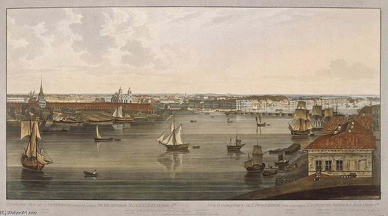 Spb Vista Panorámica De Neva Downstream de John Augustus Atkinson (1775-1833, United Kingdom)