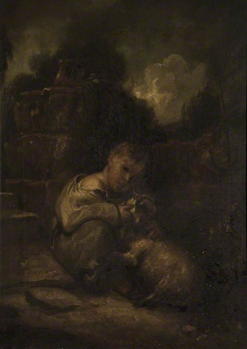 un niño con un `lamb` de Thomas Barker (1769-1847, United Kingdom)