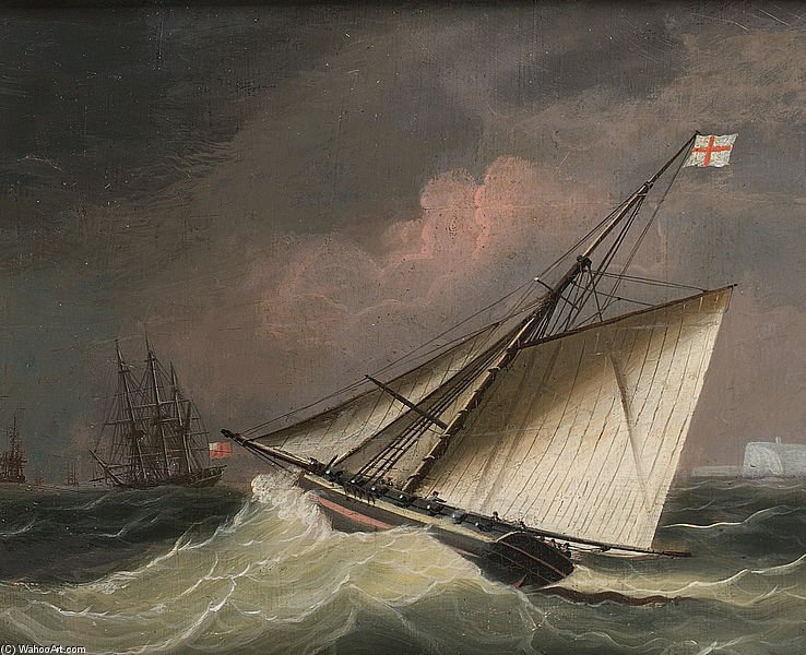 Cuchillo En Un Swell de Thomas Buttersworth (1768-1842, United Kingdom)