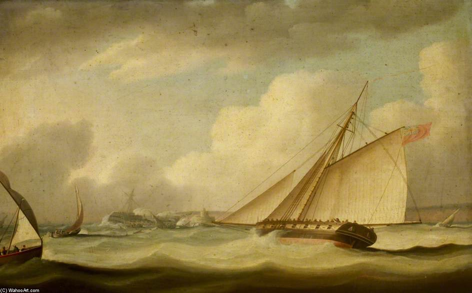 Un cortador de rescate de un Buque encallado de Thomas Buttersworth (1768-1842, United Kingdom)