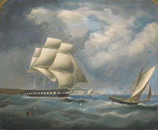 Una fragata Bajo Rig Reducido En La Canal de Thomas Buttersworth (1768-1842, United Kingdom)