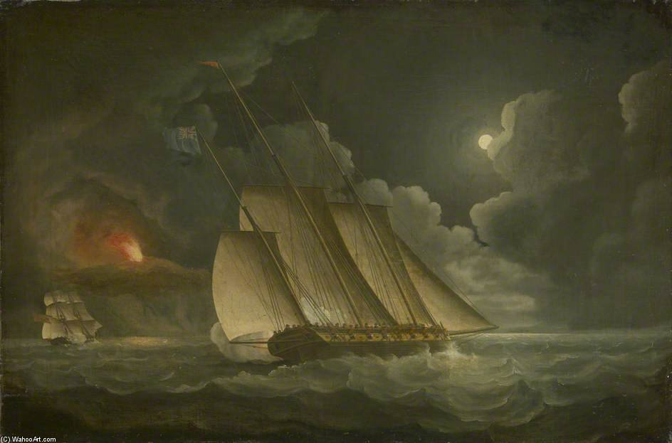 Un Lugger perseguido por un ingreso o Naval Brig de Thomas Buttersworth (1768-1842, United Kingdom)