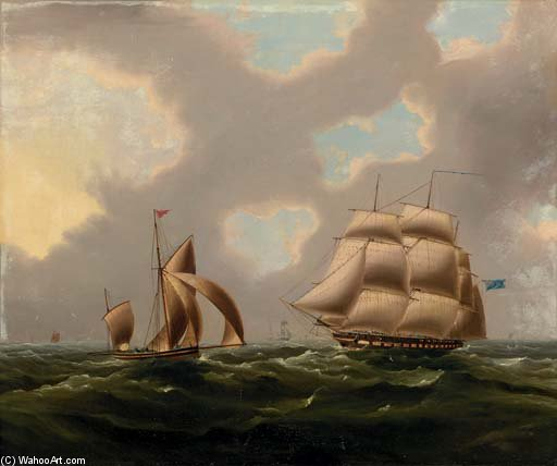Una fragata naval Y yola En El Canal de Thomas Buttersworth (1768-1842, United Kingdom)