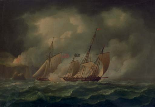 Un guarda costas Persiguiendo un pirata Lugger de Thomas Buttersworth (1768-1842, United Kingdom)