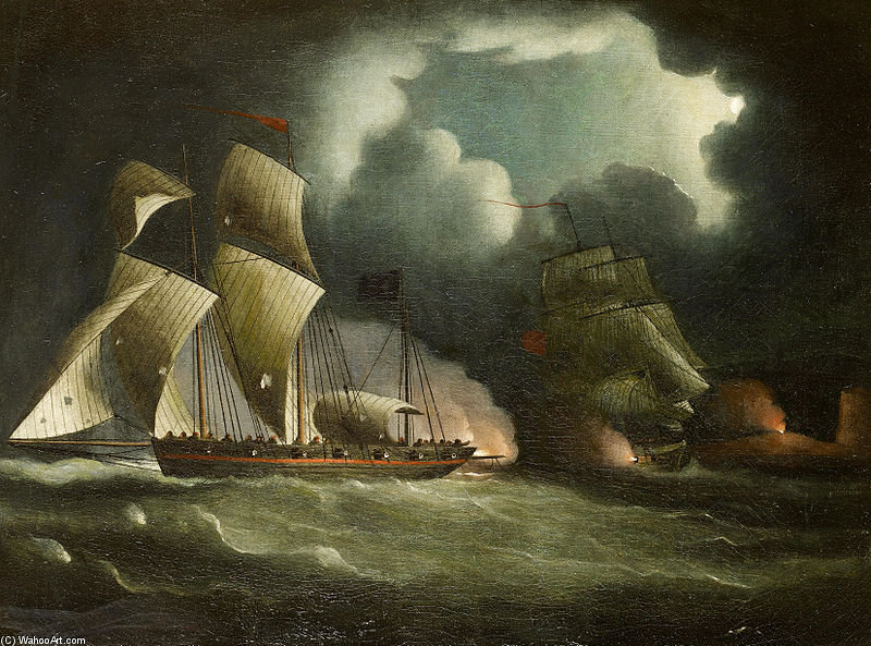 A Royal Navy Brig Chasing Y Participar Un bien armada pirata Lugger de Thomas Buttersworth (1768-1842, United Kingdom)