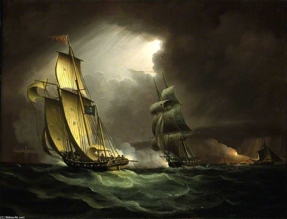 Un Lugger Contrabando perseguido por un general de brigada naval - de Thomas Buttersworth (1768-1842, United Kingdom)