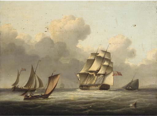 Una fragata-Outward Bound corriendo por el Canal de Thomas Buttersworth (1768-1842, United Kingdom)