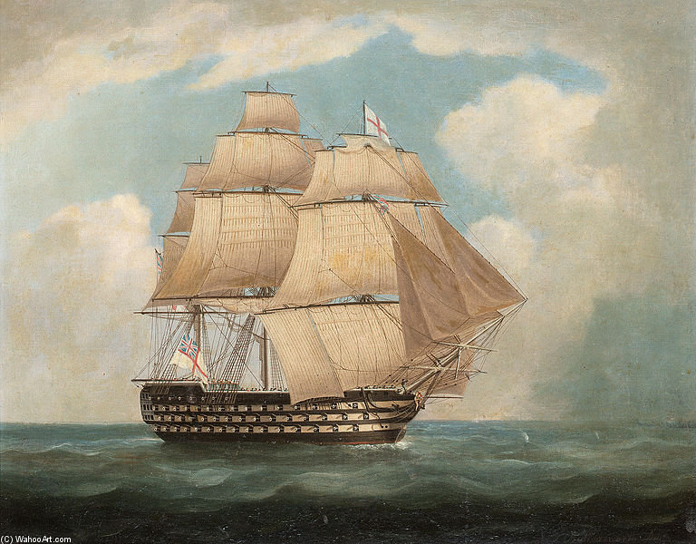 HMS 'victoria' a toda vela y en una Squall - de Thomas Buttersworth (1768-1842, United Kingdom)