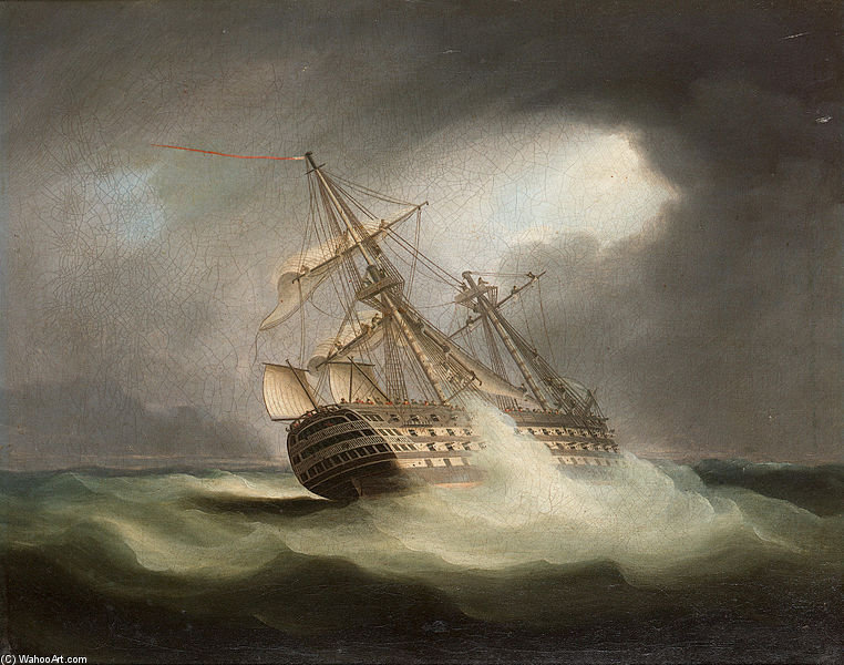 HMS 'victoria' a toda vela y en una Squall de Thomas Buttersworth (1768-1842, United Kingdom)