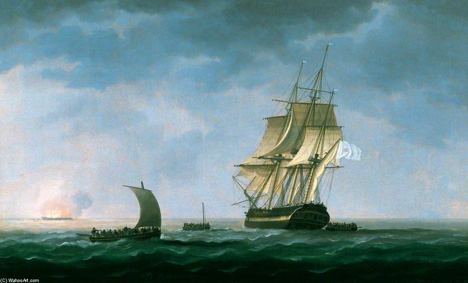 Hms 'hindostahn' en llamas , Rosas Bahía de Thomas Buttersworth (1768-1842, United Kingdom)