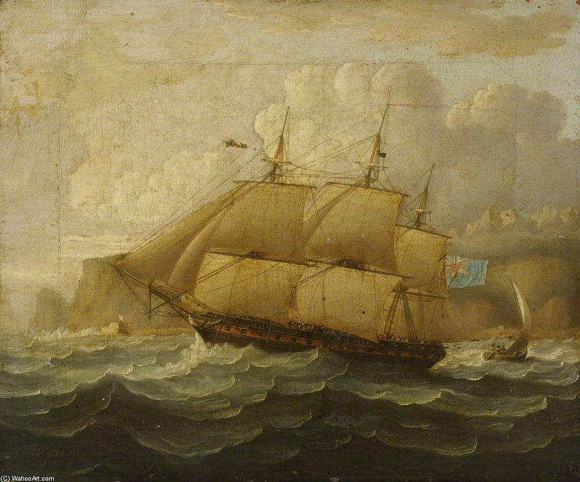HMS Leander En el mar de Thomas Buttersworth (1768-1842, United Kingdom)
