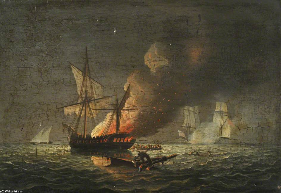 Hms caballito Capturando El Badiri-i-zaffer de Thomas Buttersworth (1768-1842, United Kingdom)