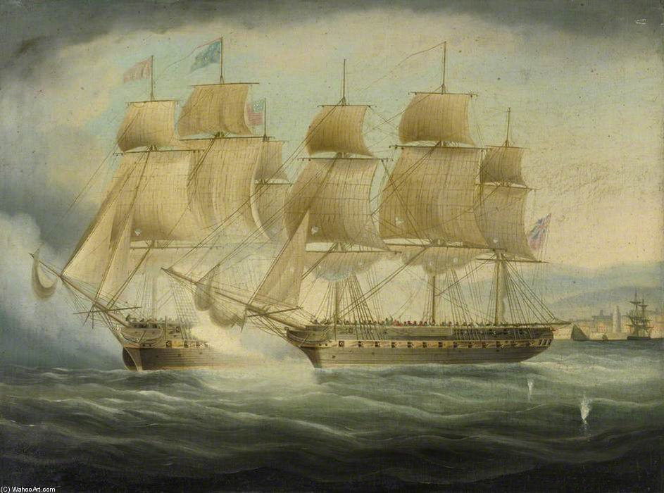 HMS Shannon Tomando Chesapeake Uss de Thomas Buttersworth (1768-1842, United Kingdom)