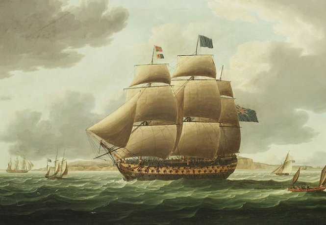 Hms Ville de Paris de Thomas Buttersworth (1768-1842, United Kingdom)