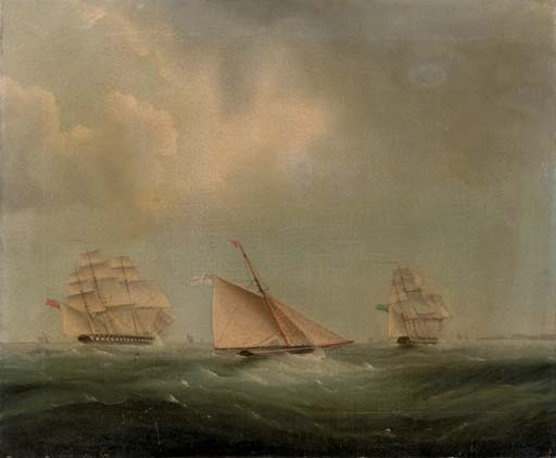 Envíos En El Canal de Thomas Buttersworth (1768-1842, United Kingdom)