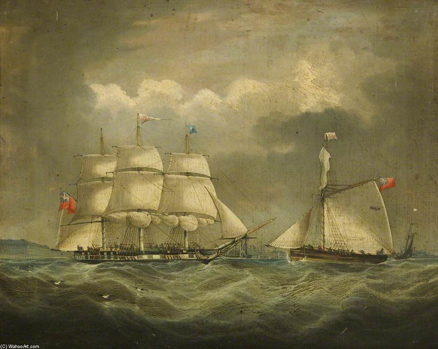 la barca 'iris' en el mar de Thomas Buttersworth (1768-1842, United Kingdom)