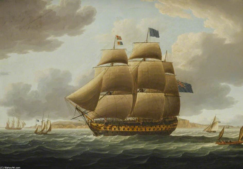 The Ship Ville de Paris a toda vela de Thomas Buttersworth (1768-1842, United Kingdom)