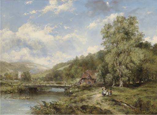 un bosque río paisaje , con figuras en un camino por Un Puente , una aldea Más allá de Frederick Waters (William) Watts (1800-1870, United Kingdom)