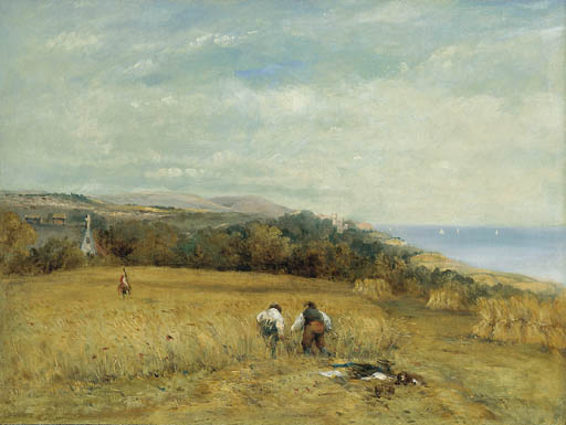 Cosechadoras en un maizal en la Isla de Wight de Frederick Waters (William) Watts (1800-1870, United Kingdom)
