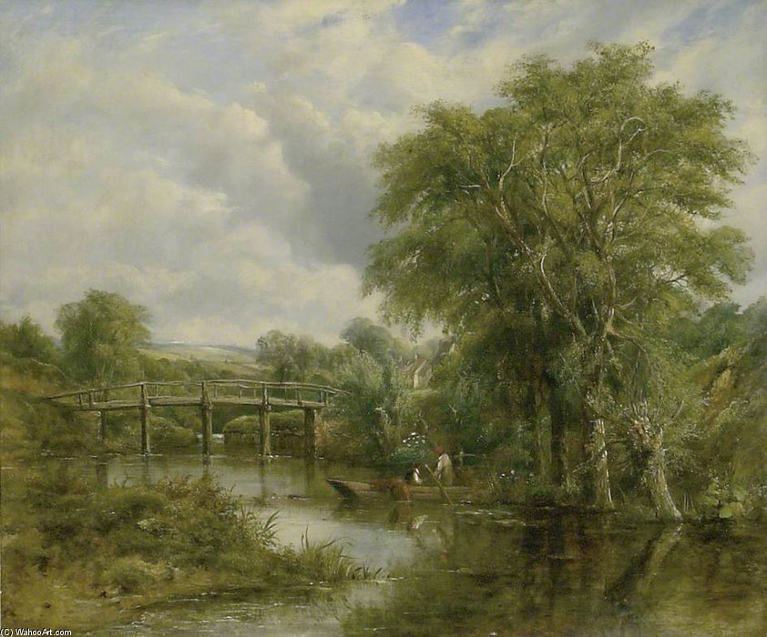 paisaje del río de Frederick Waters (William) Watts (1800-1870, United Kingdom)