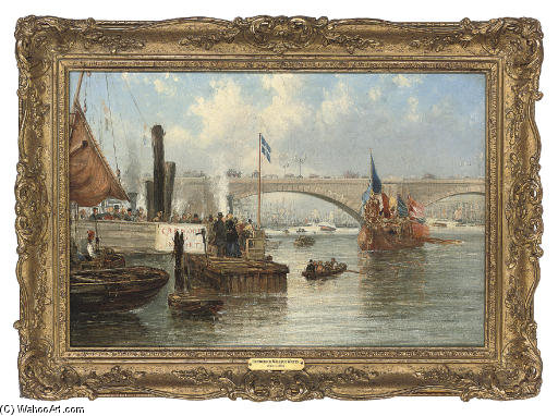el mayoral Barcaza en londres Puente de Frederick Waters (William) Watts (1800-1870, United Kingdom)