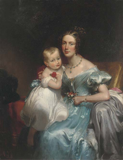 retrato de un madre e hijo , Sentada Three-quarter-length de George Henry Harlow (1787-1819, United Kingdom)