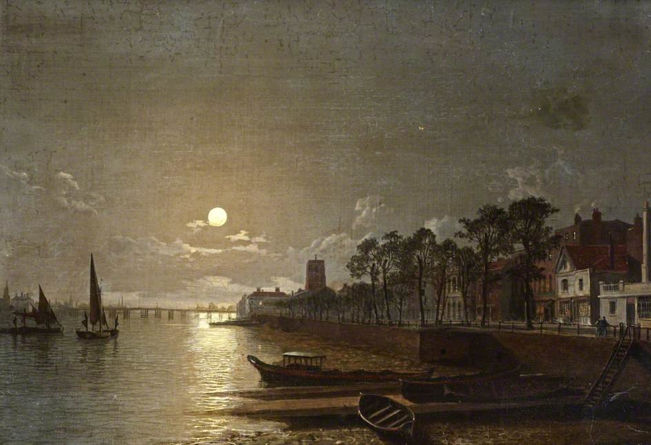 Chelsea By Moonlight de Henry Pether (1828-1865, United Kingdom) | ArtsDot.com