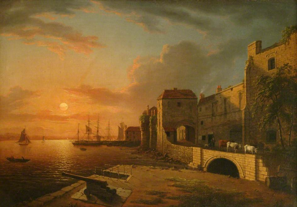 Sunset Southampton Town Quay A de Henry Pether (1828-1865, United Kingdom)