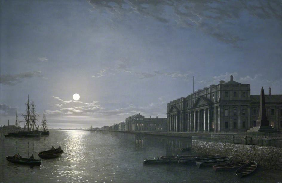 El Hospital del Támesis Y Greenwich Por Moonlight de Henry Pether (1828-1865, United Kingdom)