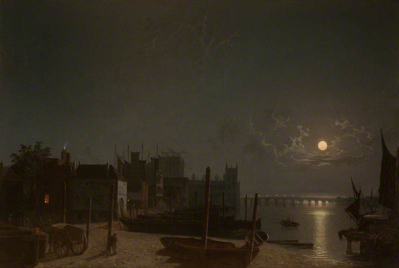 Westminster desde el muelle del ferry Caballo-By Moonlight de Henry Pether (1828-1865, United Kingdom) | ArtsDot.com