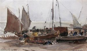 Thomas Collier - Eached barcos en el sussex La costa