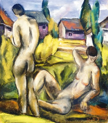 desnudos in paisaje de David Jandi (1893-1944, Hungary)