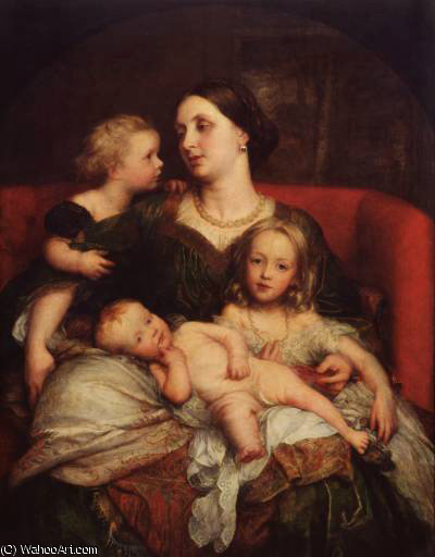 Señorita Jorge Augusto frederick cavendish bentinck y sus hijos de Frederick Waters (William) Watts (1800-1870, United Kingdom)