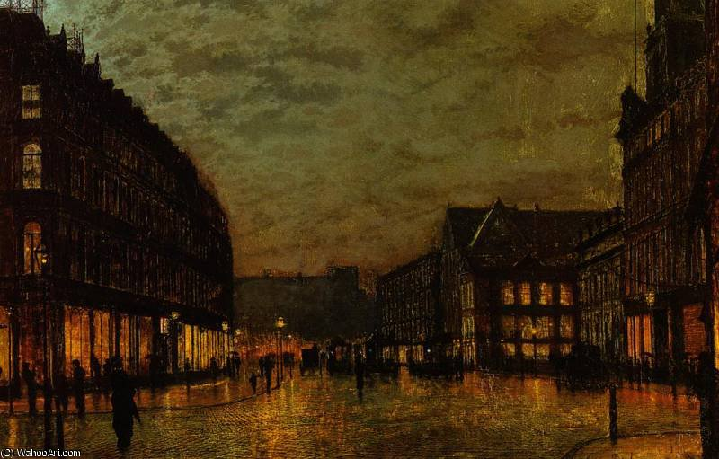 Verracos Lane, Leeds por la luz artificial de John Atkinson Grimshaw (1836-1893, United Kingdom)