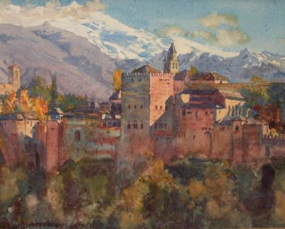 Vista de la Alhambra de Jorge Apperley (George Owen Wynne Apperley) (1884-1960, United Kingdom)