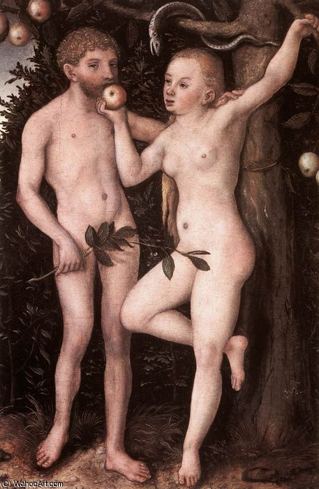 adán y víspera, 1538 de Lucas Cranach The Elder (1472-1553, Germany)