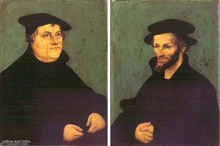 retratos de Martín Lutero y Philipp Melanchthon de Lucas Cranach The Elder (1472-1553, Germany)
