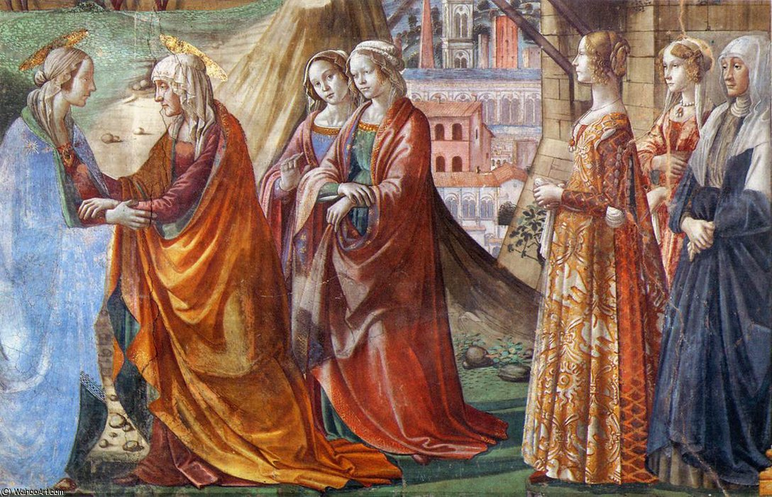 Pared 2.Right - Visitación (detalle) de Domenico Ghirlandaio (1449-1494, Italy)