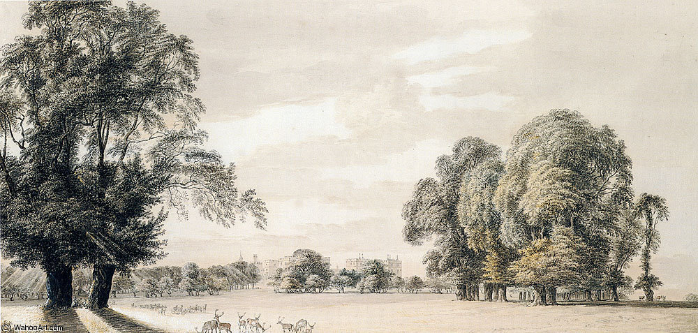 sudeste Vista de castillo de windsor Desde el Parque de Paul Sandby (1798-1863, United Kingdom)