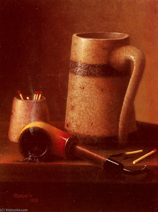 M aún tubería vida y taza de William Michael Harnett (1848-1892, Ireland)