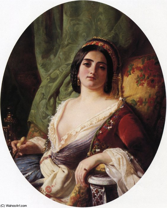 un joven mujer desde `smyrna` de Charles Edouard Boutibonne (1816-1897, Hungary)