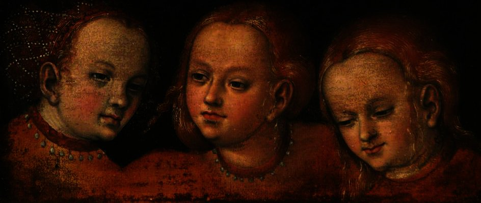 estudio de tres `girls'` cabezas de Lucas Cranach The Elder (1472-1553, Germany)