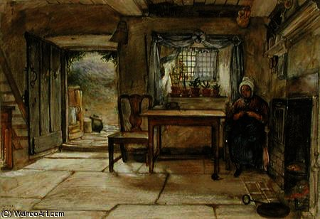 interior de la cabaña de Charles West Cope (1811-1890, United Kingdom)