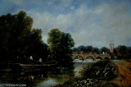 El puente en Henley-on-Thames de Frederick Waters Watts (1800-1870, United Kingdom)