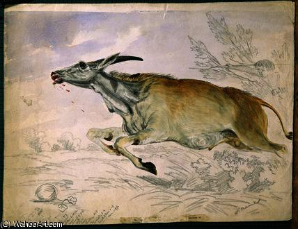 Eland corriendo de Damara con lanza de Thomas Baines (1820-1875, United Kingdom)