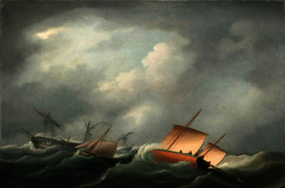 Desarbolado en el Golfo de Vizcaya de Thomas Buttersworth (1768-1842, United Kingdom)